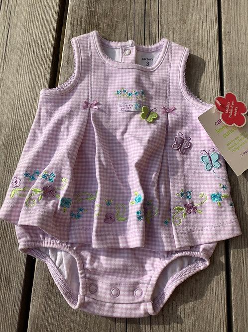 Size 3m CARTER'S NWT Purple Gingham Onesie Dress