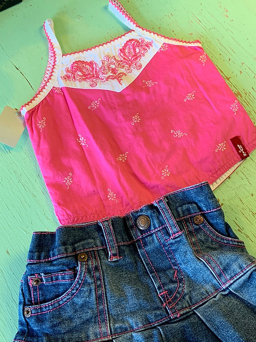 Size 12m LEVIS Pink Tank with Jean Skort Set, Used