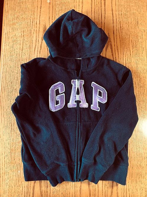 Size 14/16 GAP KIDS Navy and Purple Sequin Logo Hoodie