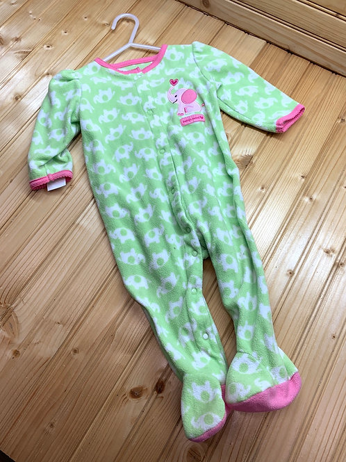 Size 6-9m CARTER'S Green Elephant Fleece Footie PJ