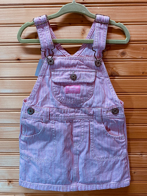 Size 3T OSHKOSH Pink and White Stripe Overall Skirt, Used