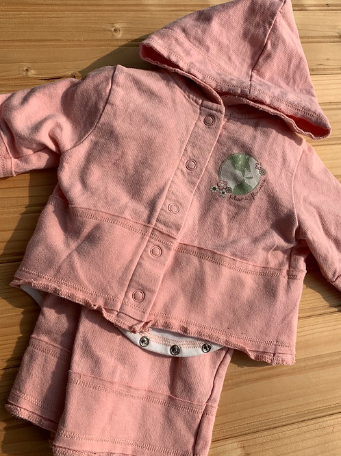 Size 3-6m BABYWORKS Pink Earth Day 3pc Outfit, Used