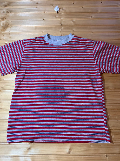 Size 8 Kids Red and Grey Stripe Shirt