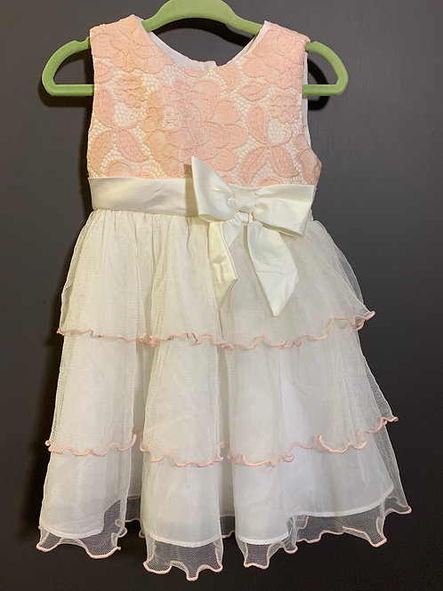 Size 18m RARE EDITIONS Peachy Pink Lace n Layers Dress