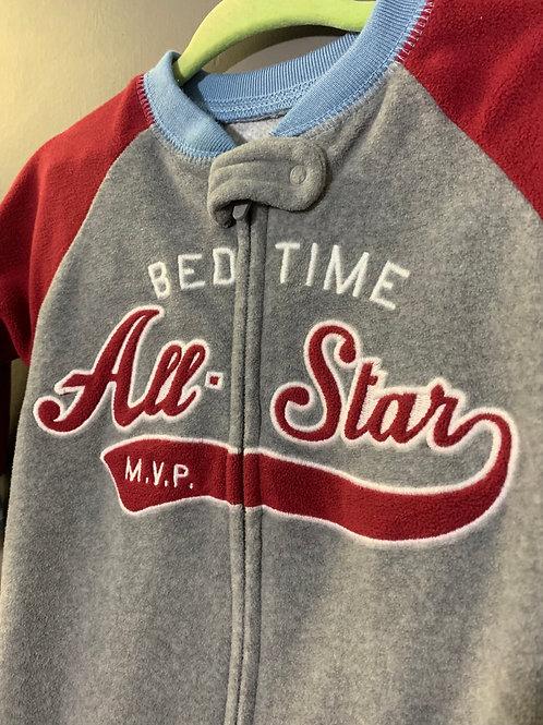 Size 6m CARTER'S Bedtime All Star Fleece Footie Pajama