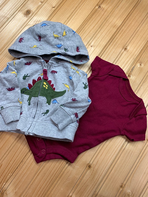 Size NB CARTER'S Dino Hoodie and Burgundy Onesie
