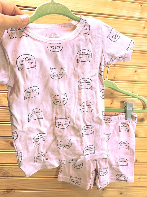 Size 2T Summer 2pc Pink Cat PJ Set