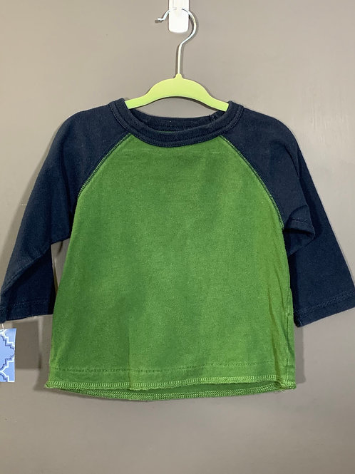 Size 12m CHILDREN'S PLACE Navy and Green Shirt, Used