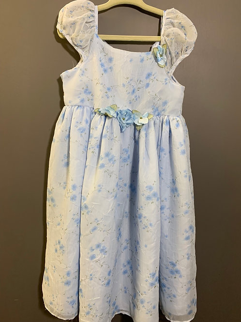 Size 4T Girls Easter Dress Flowy Baby Blue Floral