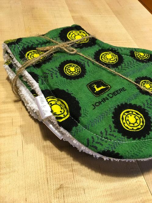 ADDIE & ABE John Deere Handmade Burp Cloth Set