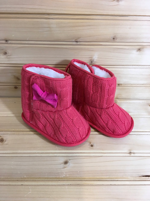 Size 4 Toddler Coral Fuzzy Booties