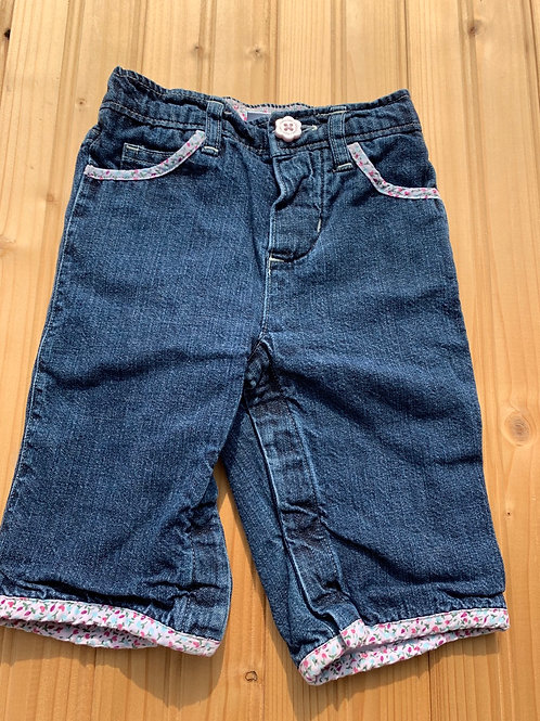 Size 3-6m BABY GAP Floral Lined Jeans, Used