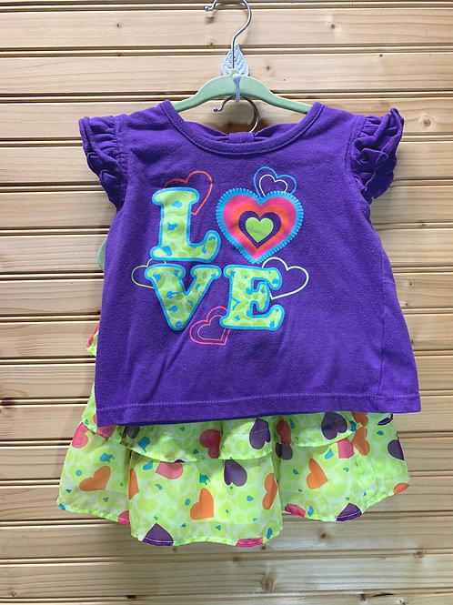 Size 2T Purple and Green Love Skirt Set, Used
