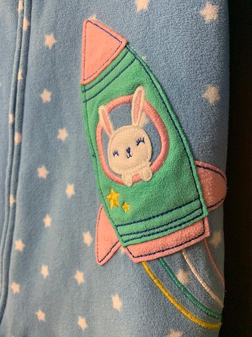Size 12m CARTER'S Blue Fleece Footie Pajama with Cute Rocket Bunny