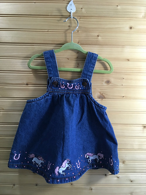 Size 18m BABY KORRAL Jean Overall Dress with Pink Horses