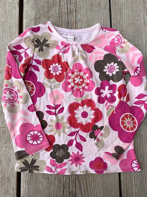 Size 4T OLD NAVY Pink and Brown Floral Shirt
