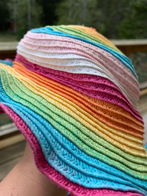 Rainbow Paper Straw Sun Hat