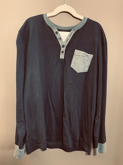 Size XL (14/16 Youth) RTE 66 Navy Henley with Grey Trim
