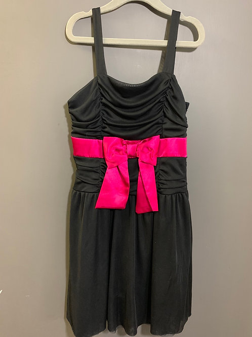 Size 8 Girls 2 HIP Black Dress with Hot Pink Bow