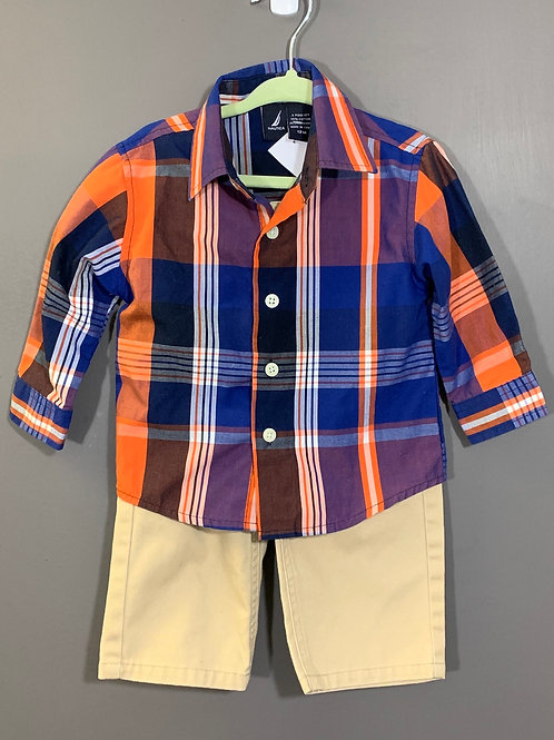 Size 12m NAUTICA Blue Plaid Shirt and Tan Pants, Used