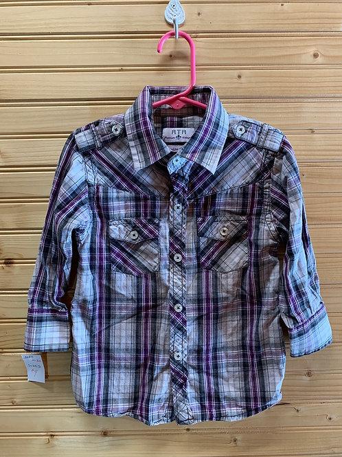 Size 3T RTR Purple Plaid Shirt, Used