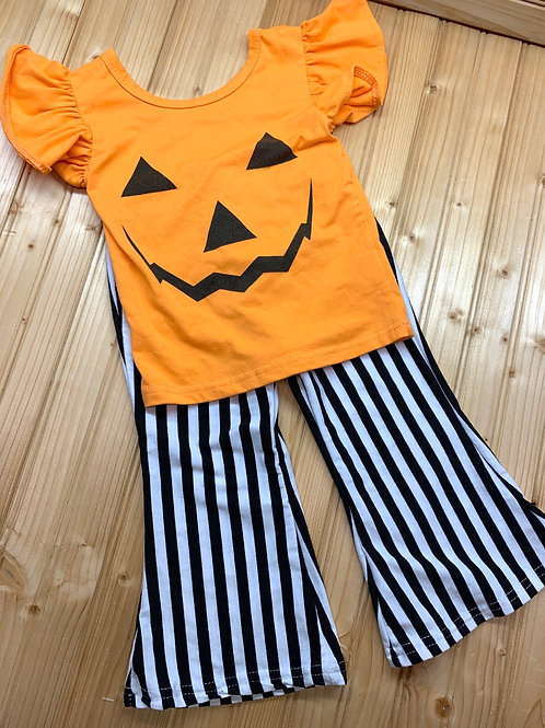 Size 90 (2T) Pumpkin Top with Striped Flare Pants