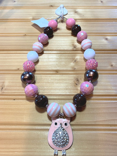 """19"""" Chunky Pink Owl Necklace"""