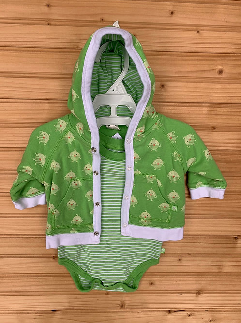 Size 0-3m CHILDREN'S PLACE Apple Green Ducks Hoodie wtih Striped Onesie, Used