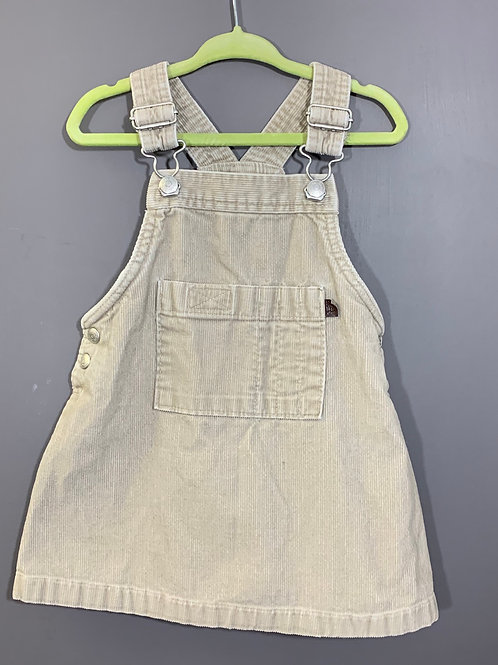 Size 12-18m BABY GAP Tan Overall Dress, Used