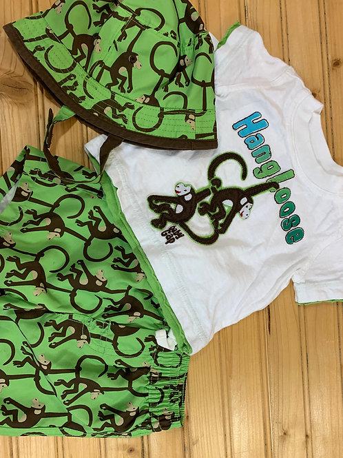 Size 0-3m GAP 3pc Monkey Summer Set, Used