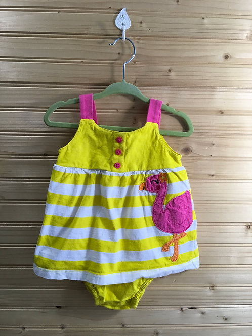 Size 12m CARTER'S Yellow and Pink Flamingo Dress