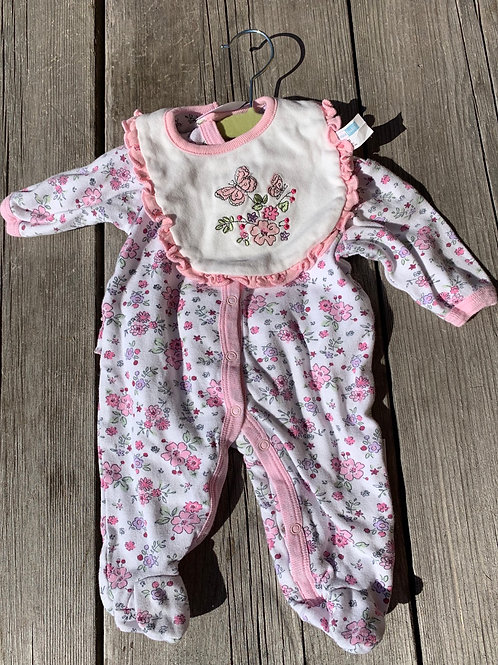Size NB VITAMIN BABY Pink Floral PJ with Bib, Used