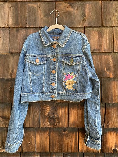 Size L (12?) Cropped Embellished Jean Jacket