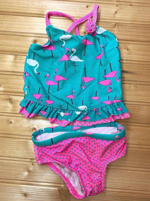 Size 12m OP Pink and Teal Flamingo Swimsuit