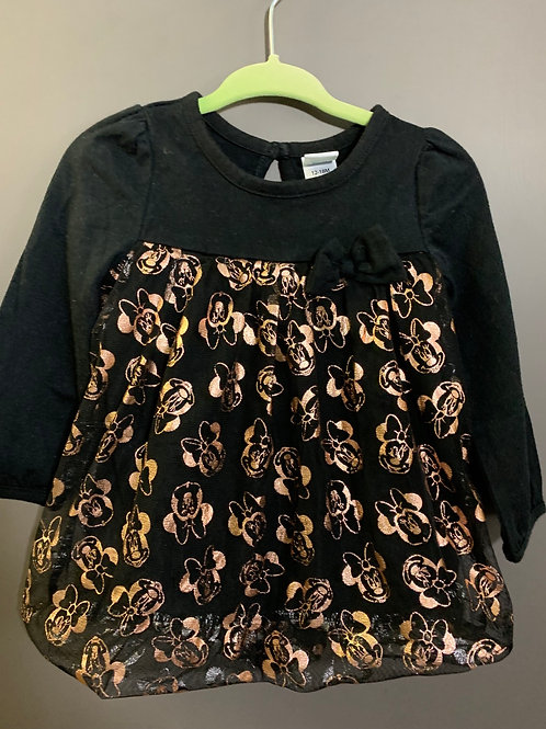 Size 12-18m DISNEY Black and Gold Minnie Mouse Tunic