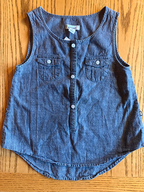 Size S (7?) OLD NAVY Sleeveless Chambray Top, Used