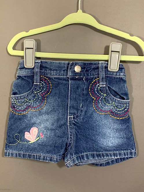 Size 12m OKIEDOKIE Jean Shorts with Butterfly, Used