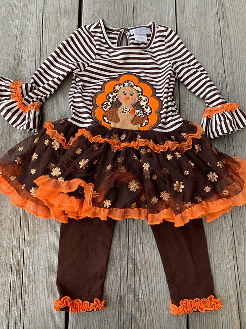 Size 2T EMILY ROSE Glitter Turkey Thanksgiving Outfit