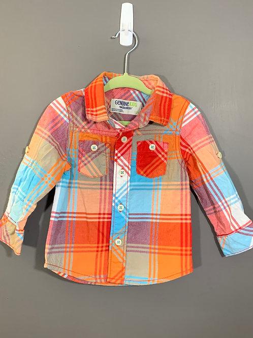 Size 12m OSHKOSH Orange Plaid Long Sleeve Shirt, Used