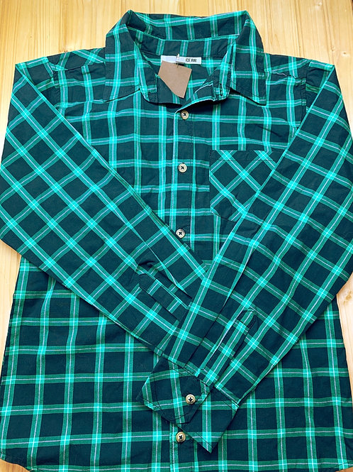 Size 12-14 SURVIVAL GEAR Navy and Green Shirt, Used