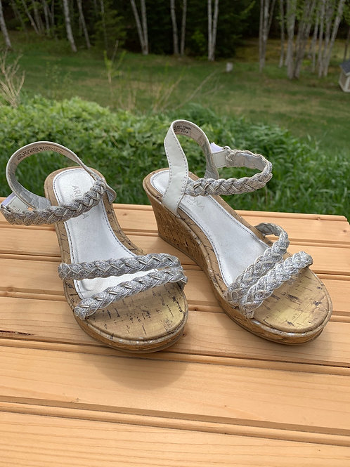 Size 12 kids Silver Cork Wedge Sandals