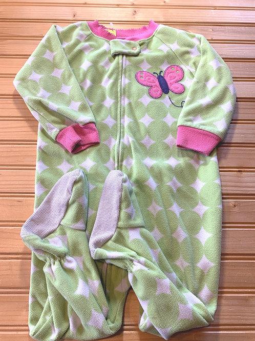 Size 18m CARTER'S Green Fleece Footie PJ, Used