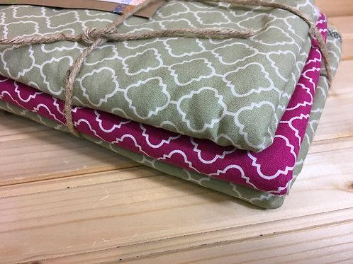 THE ROAD LESS TRAVELED - NEW 3 Burp Cloth Set - Pink/Tan