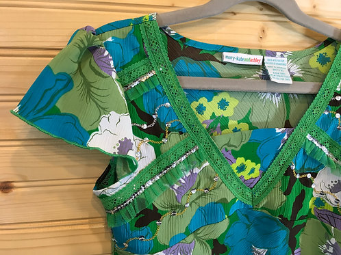 Size 7/8 Girls MARY-KATE and ASHLEY Green Floral Outfit