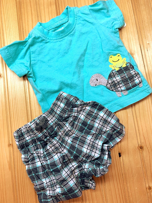 Size 0-3m CARTER'S Turtle and Frog 2pc Summer Set