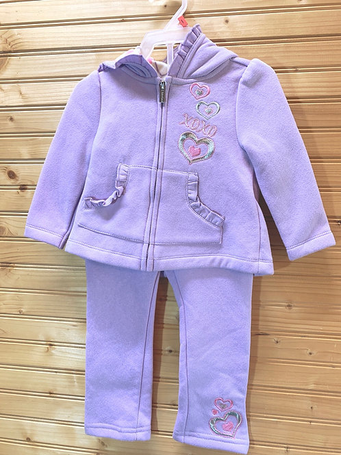 Size 2T XOXO Lavender Fleece Sweatsuit Set, Used