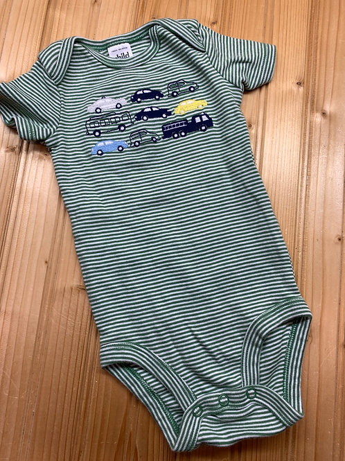 Size 3-6m CARTER'S Green Striped Cars Onesie