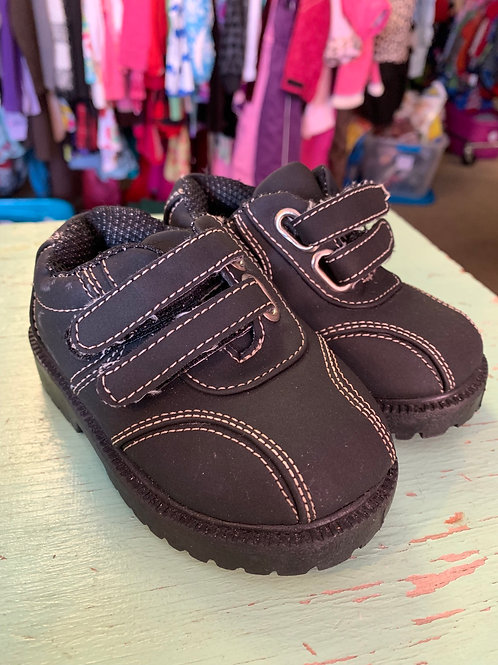 5 Toddler Black Velcro Rugged Shoes