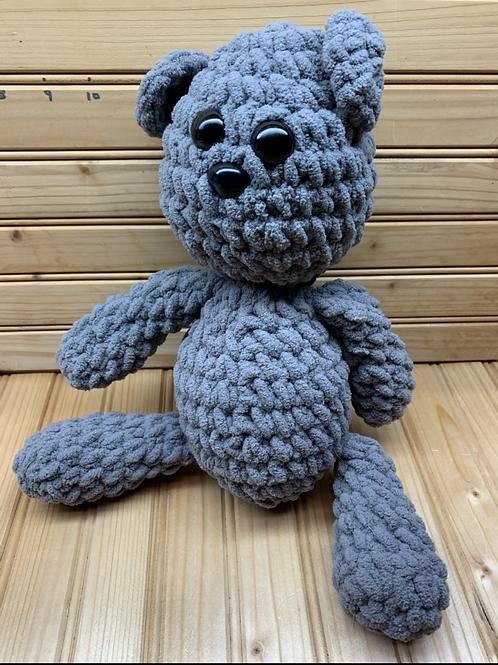 Handmade Crochet Grey Bear Stuffy