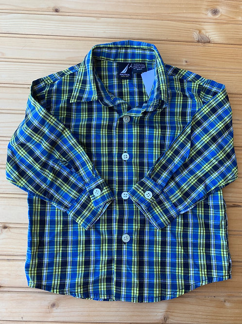Size 24m NAUTICA Blue and Yellow Plaid Shirt